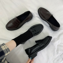 Low top shoes 35 36 37 38 39 Jentina Brown Black upgrade Brown upgrade black Round head PU Flat bottom Low heel (1-3cm) Midmouth cloth Summer 2021 Trochanter solar system Adhesive shoes Youth (18-40 years old) Solid color rubber Single shoes The Roman style of the platform cloth leisure time