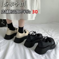 Low top shoes 35 36 37 38 39 Jentina Off white black upgrade off white upgrade black Round head PU Muffin bottom Middle heel (3-5cm) Shallow mouth cloth Summer 2021 Frenulum solar system Adhesive shoes Youth (18-40 years old) Solid color rubber Single shoes Cross strapping platform cloth leisure time
