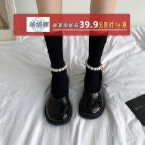 Low top shoes 35 36 37 38 39 Jentina Matte Black Patent Black Matte Black upgrade Patent Black upgrade Round head PU Flat bottom Low heel (1-3cm) Shallow mouth cloth Summer 2021 Flat buckle solar system Adhesive shoes Youth (18-40 years old) Solid color rubber Mary Jane shoes cloth leisure time