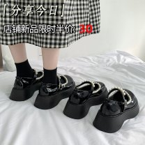 Low top shoes 35 36 37 38 39 Jentina Shiny black matte black shiny black upgrade matte black upgrade Round head PU Muffin bottom Middle heel (3-5cm) Shallow mouth cloth Summer 2021 Flat buckle solar system Adhesive shoes Youth (18-40 years old) Solid color rubber Single shoes cloth leisure time