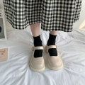 Low top shoes 35 36 37 38 39 Jentina BEIGE BLACK upgrade blue upgrade Beige upgrade black blue Round head PU Thick heel Middle heel (3-5cm) Shallow mouth cloth Summer 2021 Flat buckle solar system Adhesive shoes Youth (18-40 years old) Solid color rubber Single shoes Shallow and thick heel platform