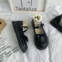 Low top shoes 35 36 37 38 39 Jentina Brown Black upgrade Brown upgrade black Round head PU Square heel Low heel (1-3cm) Shallow mouth cloth Summer 2021 Flat buckle solar system Adhesive shoes Youth (18-40 years old) Solid color rubber Single shoes Shallow waterproof platform cloth leisure time