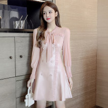 Dress Winter 2020 Pink, blue S,M,L,XL Mid length dress singleton  Long sleeves commute V-neck High waist Solid color double-breasted A-line skirt routine 18-24 years old Type A Korean version Lace up, stitching, mesh 51% (inclusive) - 70% (inclusive)