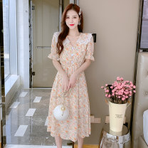 Dress Summer 2021 Picture color S,M,L,XL longuette singleton  Long sleeves commute Lotus leaf collar Elastic waist Broken flowers Single breasted Princess Dress Petal sleeve camisole 25-29 years old Type A lady Splicing 31% (inclusive) - 50% (inclusive) Chiffon polyester fiber