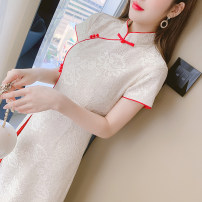 Dress Summer 2021 Apricot S,M,L,XL Miniskirt singleton  Long sleeves commute stand collar middle-waisted Solid color Socket Princess Dress routine Others 25-29 years old Type A 31% (inclusive) - 50% (inclusive) Lace other