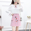 Fashion suit Autumn 2020 S,M,L,XL Pink top + pink skirt, black top + black skirt 18-25 years old