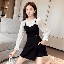 Dress Spring 2021 black S,M,L,XL,2XL Short skirt Two piece set Long sleeves commute Crew neck High waist Solid color Socket A-line skirt routine straps Type A Splicing polyester fiber