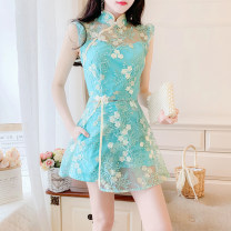 Dress Summer 2020 Set Items  S,M,L Short skirt singleton  Sleeveless commute stand collar High waist Decor zipper A-line skirt Flying sleeve 25-29 years old Type A Other / other Retro Embroidery four point one five 51% (inclusive) - 70% (inclusive) Lace