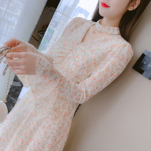 Dress Spring 2021 Picture color S,M,L,XL Mid length dress singleton  Long sleeves commute V-neck middle-waisted Broken flowers zipper A-line skirt other Type A Korean version Splicing 81% (inclusive) - 90% (inclusive) Chiffon