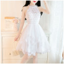 Dress Summer 2020 White, pink S,M,L Short skirt other Sleeveless commute Crew neck High waist Solid color zipper A-line skirt 18-24 years old Type A Other / other lady 81% (inclusive) - 90% (inclusive) Lace