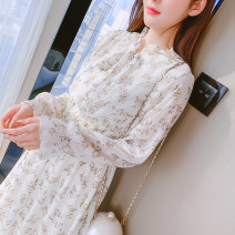 Dress Spring 2021 Pink, apricot S,M,L,XL,2XL Mid length dress singleton  Long sleeves commute Crew neck Elastic waist Broken flowers Socket A-line skirt other Type A Korean version Bowknot, lace up, stitching 81% (inclusive) - 90% (inclusive) Chiffon