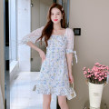 Dress Summer 2021 sky blue S,M,L,XL longuette singleton  Long sleeves commute Doll Collar High waist Solid color Socket A-line skirt routine Others 25-29 years old Type A Other / other Korean version printing 31% (inclusive) - 50% (inclusive) polyester fiber