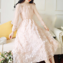 Dress Spring of 2019 White, pink Average size longuette singleton  Long sleeves commute Crew neck High waist Solid color Socket Princess Dress bishop sleeve Others 25-29 years old Type A Other / other Retro Lace, mesh, stitching 8759# 51% (inclusive) - 70% (inclusive) Lace Cellulose acetate