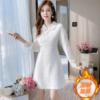 Dress Winter 2020 Apricot S,M,L,XL Mid length dress singleton  Long sleeves commute Doll Collar middle-waisted Solid color zipper A-line skirt other Type A Korean version Splicing 81% (inclusive) - 90% (inclusive) knitting