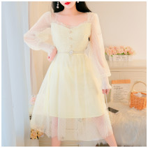 Dress Spring 2021 Apricot S,M,L longuette singleton  Long sleeves Sweet square neck High waist Solid color Socket Big swing routine Others 18-24 years old Type A Auricularia auricula, button 51% (inclusive) - 70% (inclusive) Lace polyester fiber Mori