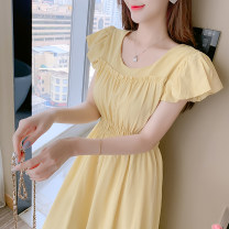Dress Summer 2021 Green, yellow S,M,L,XL longuette singleton  Short sleeve commute Crew neck Elastic waist Solid color Socket puff sleeve 25-29 years old