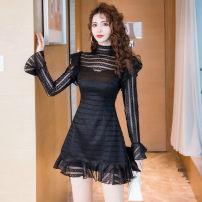 Dress Autumn 2020 black S,M,L,XL Short skirt singleton  Long sleeves commute High collar High waist Solid color Socket Ruffle Skirt pagoda sleeve Type A Retro Ruffle, stitching, mesh, lace