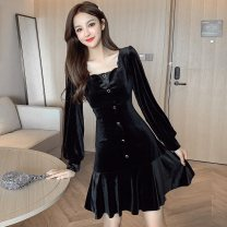 Dress Winter 2020 black S,M,L,XL Short skirt singleton  Long sleeves commute square neck High waist Solid color Single breasted Ruffle Skirt bishop sleeve Type A Korean version Ruffles, buttons