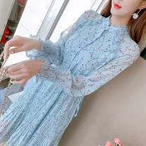 Dress Spring 2021 Picture color S,M,L,XL Mid length dress singleton  Long sleeves commute Crew neck Elastic waist Broken flowers Socket A-line skirt other Type A Korean version Bows, ties, stitches, buttons 81% (inclusive) - 90% (inclusive) Chiffon