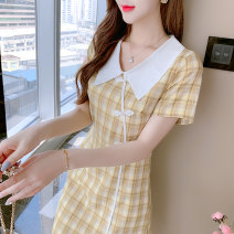 Dress Summer 2021 Blue, yellow S,M,L,XL,2XL Miniskirt singleton  Short sleeve commute Doll Collar High waist lattice Socket other routine Others 18-24 years old Type A Korean version 5118# 81% (inclusive) - 90% (inclusive) other polyester fiber