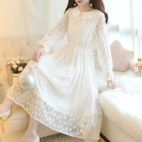 Dress Autumn 2020 White, apricot S,M,L,XL,2XL,3XL,4XL,5XL Mid length dress singleton  Long sleeves Sweet Lotus leaf collar Elastic waist Solid color Socket Big swing routine 18-24 years old Type A Bowknot, Gouhua, hollow out, lace, bandage, lace 31% (inclusive) - 50% (inclusive) Lace other Mori