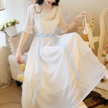 Dress Summer of 2019 white S,M,L,XL longuette singleton  Short sleeve commute V-neck High waist Solid color zipper Big swing pagoda sleeve 18-24 years old Type A Other / other Retro 81% (inclusive) - 90% (inclusive) Chiffon