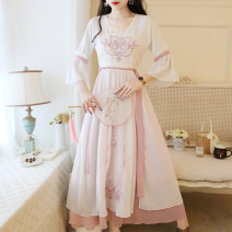 Dress Summer 2020 Green, pink S,M,L,XL,2XL,3XL longuette singleton  Nine point sleeve V-neck High waist Solid color zipper A-line skirt pagoda sleeve Breast wrapping 18-24 years old Type A zipper 31% (inclusive) - 50% (inclusive) Chiffon other