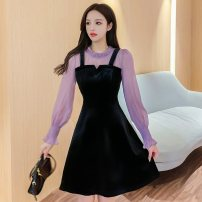 Dress Winter 2020 black S,M,L,XL,2XL Short skirt Fake two pieces Long sleeves commute Crew neck High waist Solid color Socket A-line skirt bishop sleeve camisole Type A Korean version Fold, splice