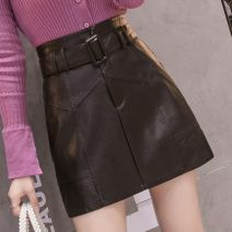 skirt Autumn 2020 S,M,L,XL,2XL black Short skirt commute High waist A-line skirt Solid color Type A 18-24 years old QQ 31% (inclusive) - 50% (inclusive) other PU zipper Korean version
