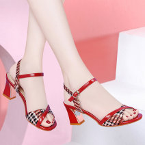 Sandals 35 36 37 38 39 40 PU Holy girl Barefoot Thick heel High heel (5-8cm) Summer 2020 Flat buckle Korean version Solid color Adhesive shoes Youth (18-40 years old) rubber daily Back space Roman style platform with shallow mouth and thick heel Low Gang Lateral space PU PU Fashion sandals Shaving