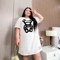 Women's large Summer 2021 Black, white 1XL,2XL,3XL,4XL,5XL T-shirt singleton  commute easy moderate Socket Short sleeve Korean version Medium length Others, polyester QZB5348 25-29 years old 81% (inclusive) - 90% (inclusive)