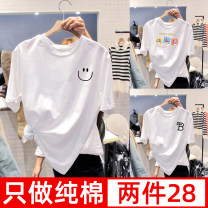 T-shirt S M L XL 2XL Spring 2021 Short sleeve Crew neck easy Regular routine commute cotton 96% and above 18-24 years old Korean version youth Cartoon animation animal design letters Sweet and sweet C5-V printing Cotton 100% Pure e-commerce (online only)