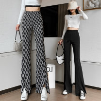Casual pants Letter check black S M L XL Spring 2021 trousers Flared trousers High waist Versatile routine 25-29 years old 00120-004 Han Naiyan pocket Other polyester 95% 5% Pure e-commerce (online only)