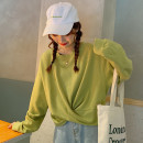 T-shirt Light green white M L XL Autumn of 2019 Long sleeves Crew neck easy have cash less than that is registered in the accounts routine Sweet polyester fiber 71% (inclusive) - 85% (inclusive) 18-24 years old youth Kimushi 9762# bow Polyester 75% cotton 25% Pure e-commerce (online only) Mori