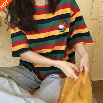 T-shirt Yellow stripe blue stripe M L XL Summer 2020 elbow sleeve Crew neck easy Regular routine commute polyester fiber 51% (inclusive) - 70% (inclusive) 18-24 years old Retro youth Landscape pinstripes Kimushi 2260# Embroidered stripe Polyester 65% Cotton 30% polyurethane elastic fiber (spandex) 5%