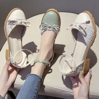 Sandals 35 36 37 38 39 40 Apricot Matcha green apricot [upgrade] Matcha green [upgrade] PU Xiyun Baotou Thick heel Middle heel (3-5cm) Summer 2020 Flat buckle Solid color Adhesive shoes Youth (18-40 years old) rubber daily Bag heel Shallow bow belt buckle with thick heel Low Gang Hollow PU PU Shaving