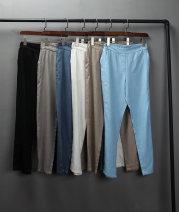 Casual pants Khaki, black, sky blue, gray, Ben White M,L,XL,2XL Summer 2021 trousers Natural waist commute Thin money 51% (inclusive) - 70% (inclusive) hemp hemp