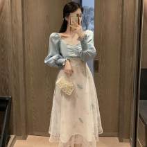 Women's large Autumn 2020 blue Dress singleton  commute Self cultivation moderate Socket Long sleeves Solid color Korean version square neck other Medium length