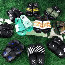 slipper Other / other Two layer pigskin summer Flip flop daily Thick bottom rubber The trend of youth non-slip printing Adhesive shoes currency Leather stitching Summer 2021 PU Printed leather