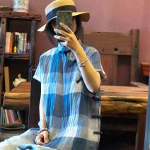 shirt blue Average size Summer of 2019 hemp 96% and above Short sleeve commute Regular stand collar Single row multi button routine lattice 30-34 years old Straight cylinder The inhabitants of the valley ethnic style S184 hemp