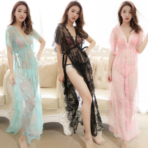 Fun pajamas polyester fiber Other / other Transparent long lace Nightgown Black, red / boutique, rose / boutique, cyan / boutique, pink / boutique, black / boutique Average size