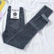 Jeans Spring 2021 Black, light blue grey, blue grey, light blue grey [Capris], blue grey [Capris], black [Capris], Black Stretch Shorts Ninth pants High waist Pencil pants