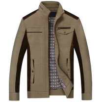 Jacket Misolo Business gentleman Khaki coffee Khaki (cashmere thickened) coffee (cashmere thickened) 170/M 175/L 180/XL 185/XXL 190/XXXL Plush and thicken standard Other leisure spring Cotton 100% Long sleeves Wear out stand collar Business Casual middle age routine Zipper placket No iron treatment