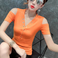 T-shirt Orange fruit green white black S M L XL 2XL 3XL Summer of 2019 Short sleeve V-neck Self cultivation Regular routine commute cotton 86% (inclusive) -95% (inclusive) 25-29 years old Korean version classic Solid color stitching Hohido HXD-GR6233 Asymmetric stitching button open shoulder