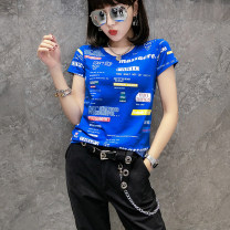 T-shirt S M L XL 2XL 3XL Summer of 2019 Short sleeve Crew neck Self cultivation Regular routine street cotton 86% (inclusive) -95% (inclusive) 18-24 years old originality Color matching of geometric pattern letters Hohido 3D printing stitching Cotton 95% polyurethane elastic fiber (spandex) 5%