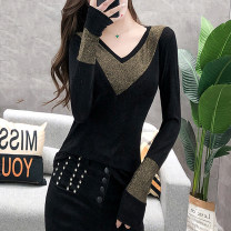 T-shirt E6958 gold [no cashmere] e6958 silver [no cashmere] e6903 leopard [no cashmere] e6903 red [no cashmere] e6903 leopard [cashmere] e6903 red [cashmere] S M L XL 2XL 3XL Autumn of 2019 Long sleeves V-neck Self cultivation Regular routine commute other 96% and above Korean version originality