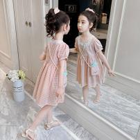 Dress Pink for the same bag female Shun Yi Bei Er 110cm 120cm 130cm 140cm 150cm 160cm Cotton 89.3% polyester 10.7% summer Korean version Short sleeve lattice cotton A-line skirt ZJXZ2122 Class B