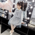 Dress Light Grey Pink female Shun Yi Bei Er 110 suggested 100 height 120 suggested 110 height 130 suggested 120 height 140 suggested 130 height 150 suggested 140 height 160 suggested 150 height Other 100% spring and autumn lady Long sleeves Solid color Cotton blended fabric Lotus leaf edge sybe9022