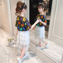 Dress White dark grey female Shun Yi Bei Er 110cm 120cm 130cm 140cm 150cm 160cm summer Korean version Short sleeve Daisy cotton Cake skirt Class B Summer 2021 3 years old, 4 years old, 5 years old, 6 years old, 7 years old, 8 years old, 9 years old, 10 years old, 11 years old, 12 years old