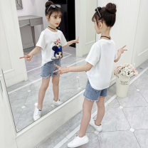 suit Shun Yi Bei Er white 110cm 120cm 130cm 140cm 150cm 160cm female summer Korean version Short sleeve + pants 2 pieces Thin money There are models in the real shooting Socket nothing Cartoon animation cotton children Expression of love Class B